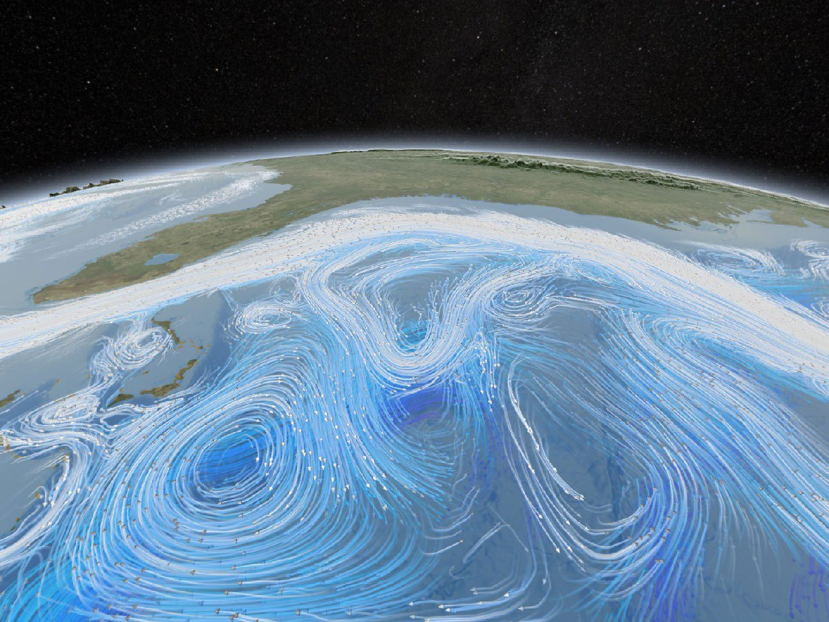Graphic illustration of ocean currents