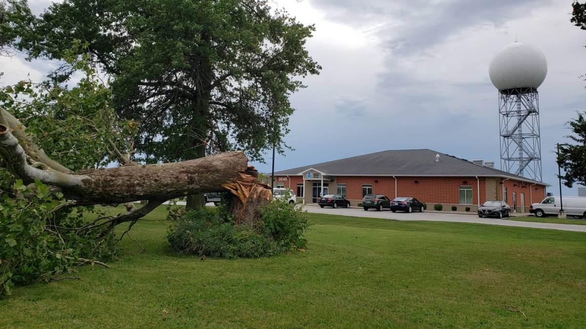 Derecho wind damage in Davenport, Iowa