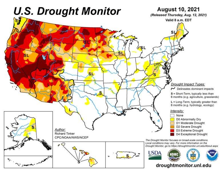 U.S. Drought Monitor map