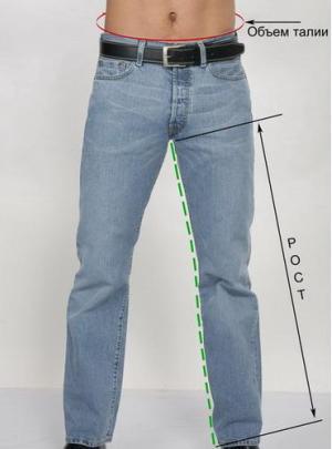 Размеры мужских джинсов таблица