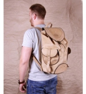 рюкзак мужской кожаный бежевый