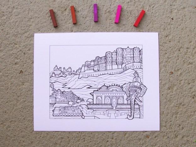 DIY Coloring Rajasthan Art Print
