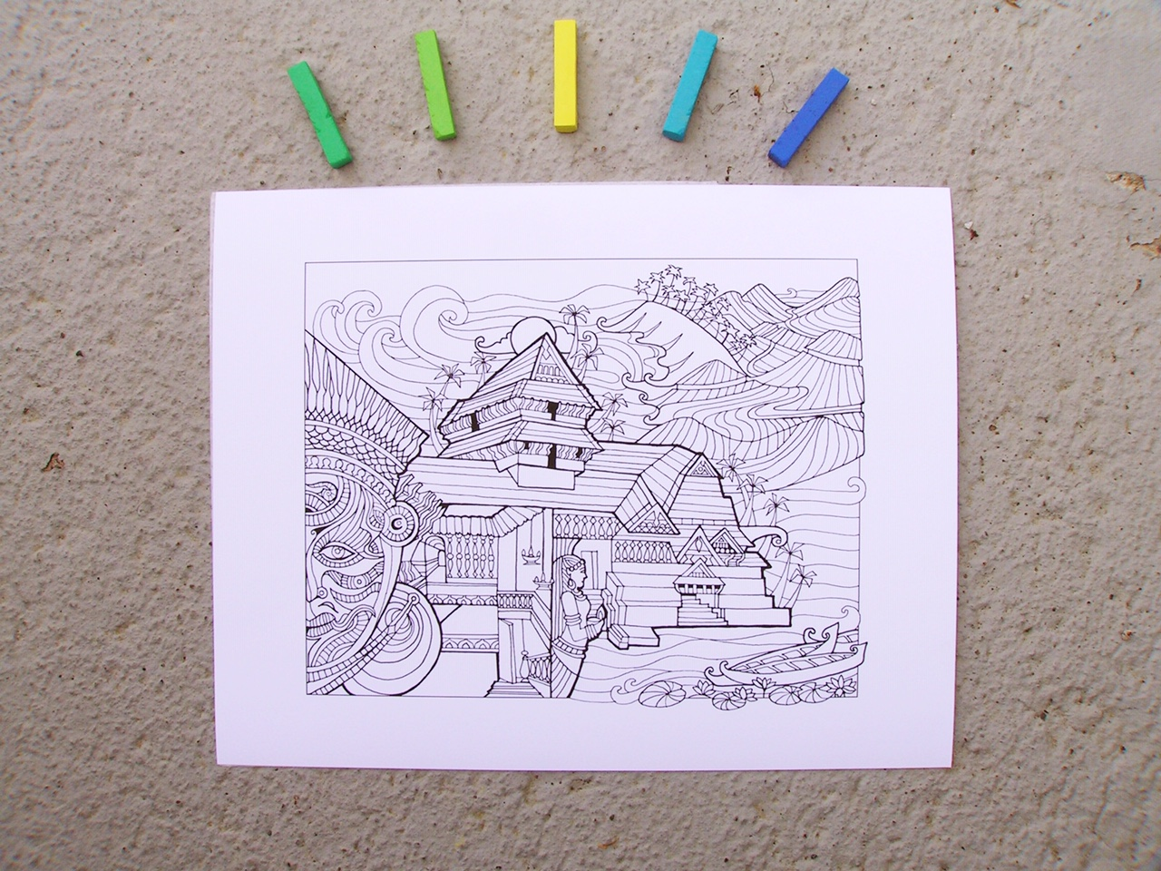 - DIY Color-Your-Own Art Print - Kerala, India Yali Books