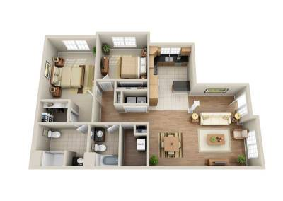 2 Bedroom Single-Story End-Unit