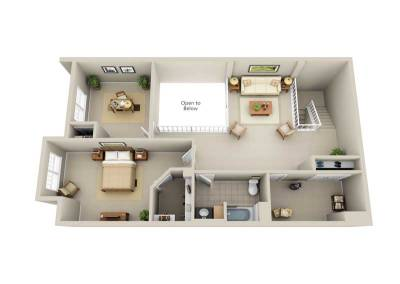 3 Bedroom 2-Story Middle Unit 2nd-Floor