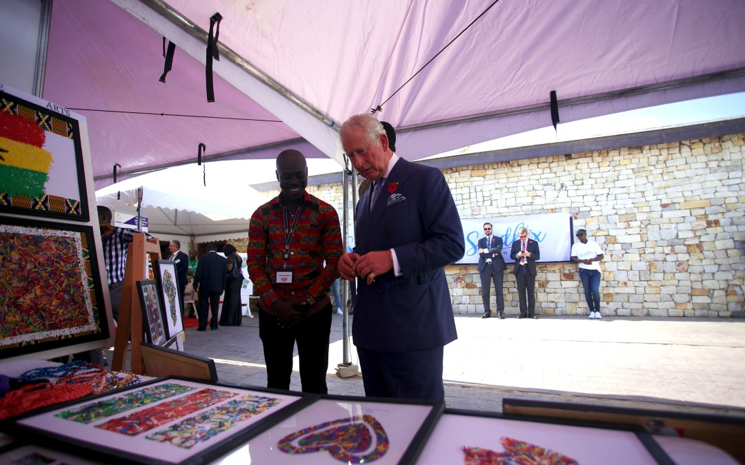 Prince of Wales Visits YALI Alumnus' Recycled Plastic Waste Stand