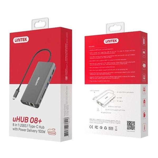 Unitek USB3.1 Type-C Aluminium Multi-Port Hub with Power Delivery - www.yallagoom.com.qa