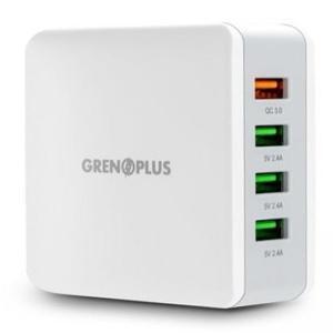 Grenoplus 40w 3port USB + 1port Qc 3.0 Wall Charger - White-Yallagoom.com.qa