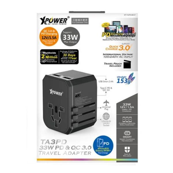 XPower TA3PD 33W Type-C PD & QC Travel Adapter-Yallagoom.com.qa