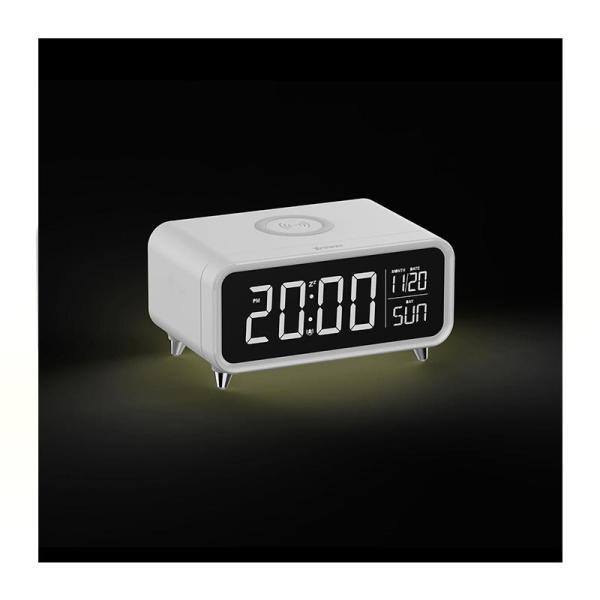 Xpower QI-Clock 10W Wireless Charging Alarm Clock - White-Yallagoom.com.qa