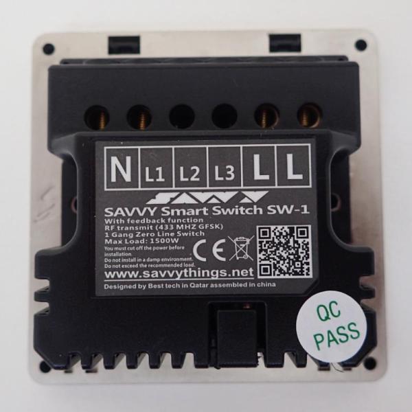 Savvy Smart Switch - 1 Gang ,Zero Line (SW2-1)-yallagoom.com.qa
