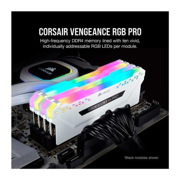 CORSAIR VENGEANCE RGB PRO 16GB 8×2  3200 WHITE-yallagoom.com.qa