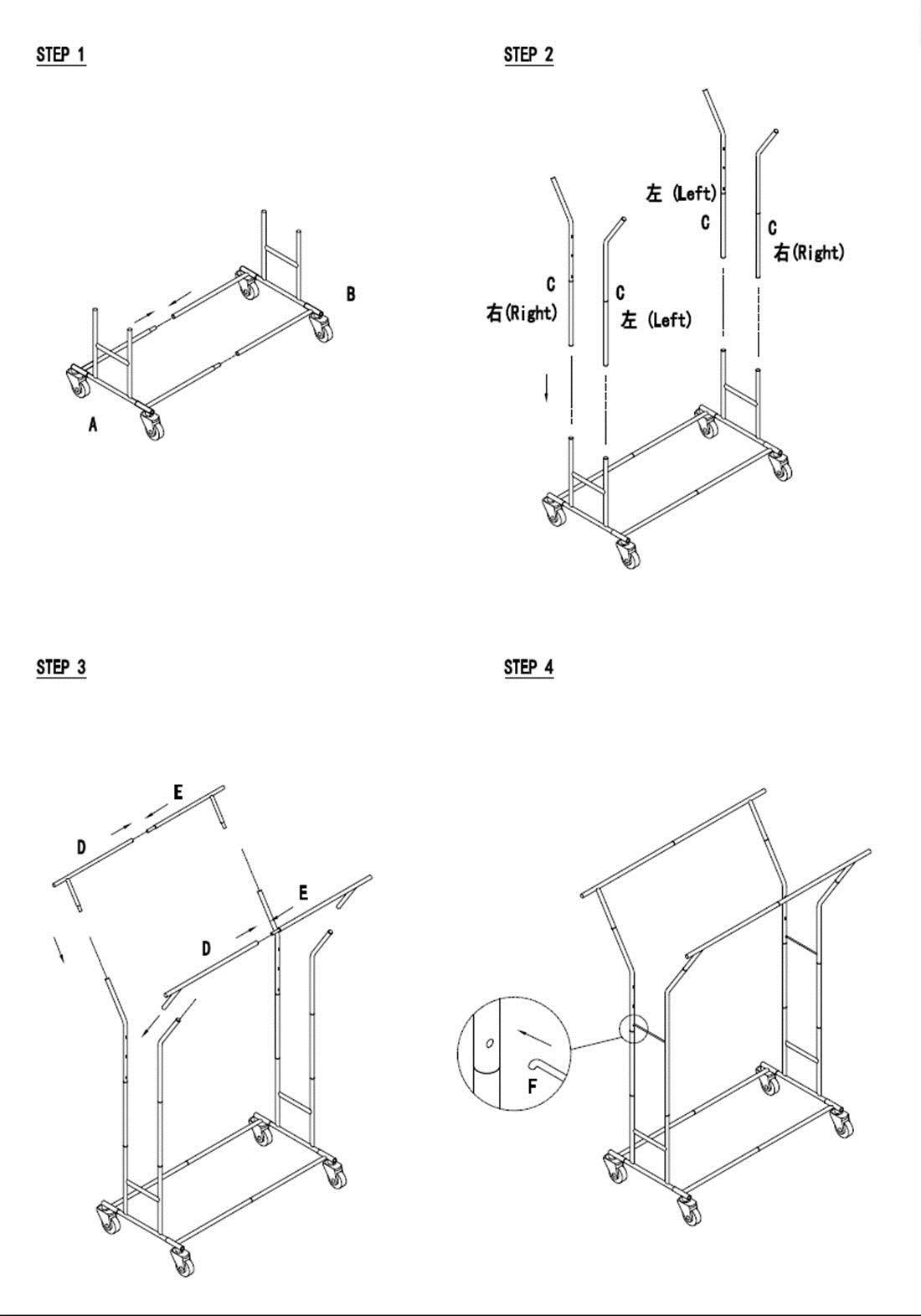 Double Heavy Duty Rail Adjustable Rolling Garment Rack