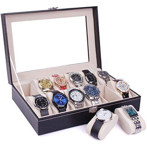 6/10/12/20/24 Slot Wrist Watch Box Top Jewelry Storage ...