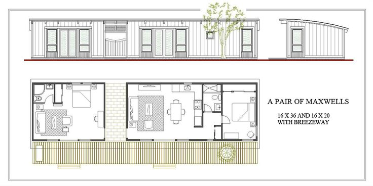 Dbl maxwell with breezeway house blueprints house plans
