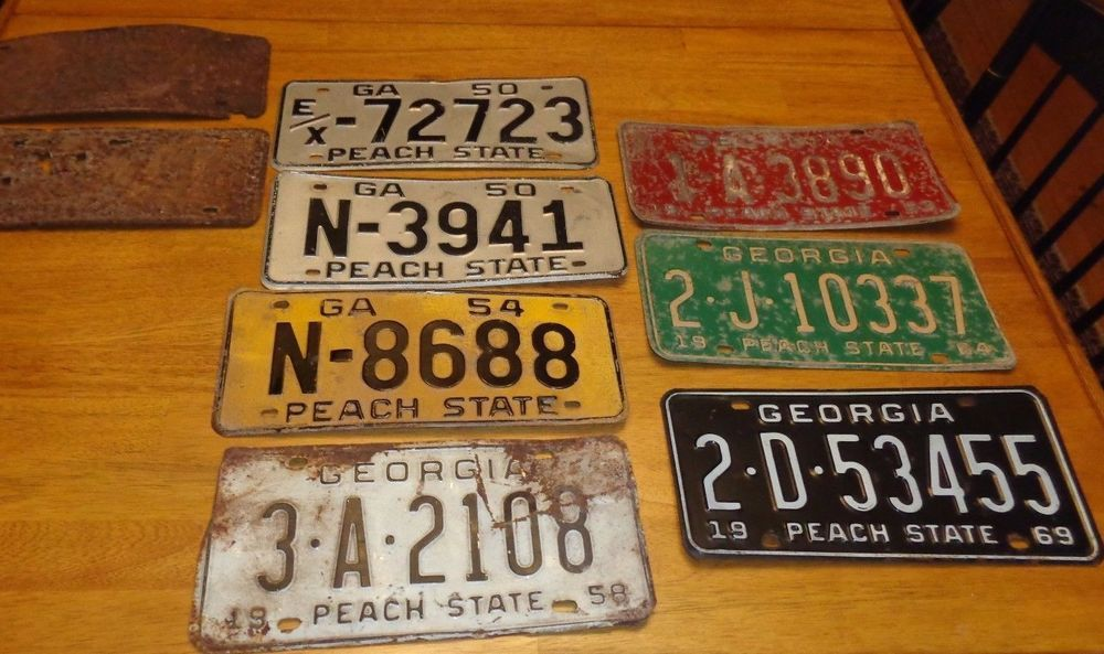 9 state of vintage license plates tags 1940s