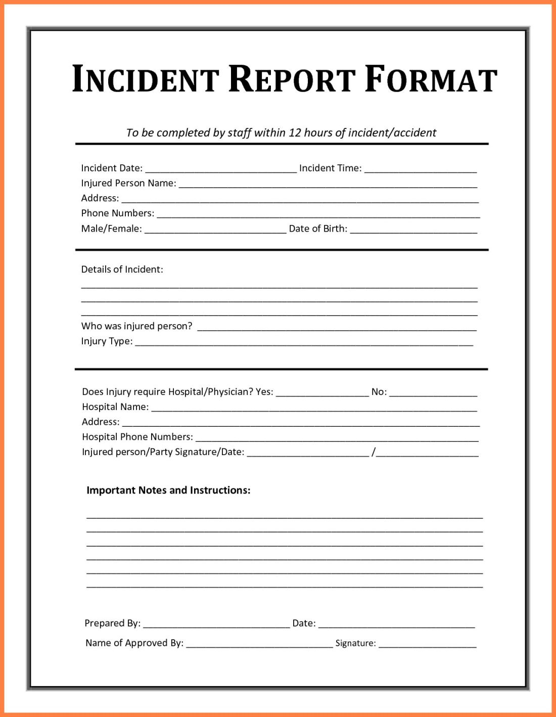 Contoh incident report falepmidnightpigco intended for