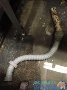 奈良県奈良市西大寺東町  厨房シンク排水つまり修理  ドレンクリーナー  排水蛇腹ホース水漏れ修理