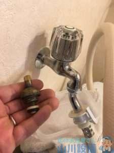 大阪府交野市星田  洗濯機水栓水漏れ修理  洗面所水栓交換
