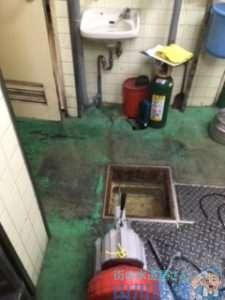 大阪府大阪市城東区成育  手洗い排水管つまり修理  ドレンクリーナー