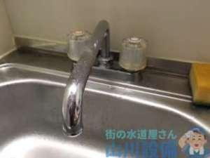 土砂降りの中大阪市北区菅原町に混合水栓の漏水修理に行きました。