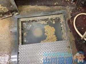 厨房グリストラップの詰まりで水が溢れそうになってる 動画付きの修理方法
