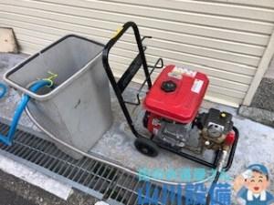 大阪市生野区でポータブル高圧洗浄機での洗管作業は山川設備にお任せ下さい。