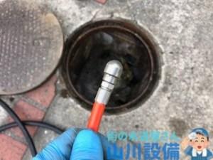 大阪市生野区で前方1穴後方5穴のノズルでの洗管作業は山川設備にお任せ下さい。