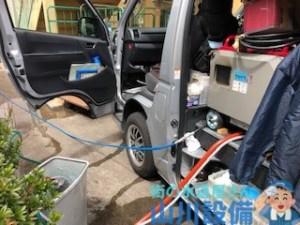 奈良市柏木町で低騒音ハイパワー高圧洗浄機を使った洗管作業は山川設備にお任せ下さい。