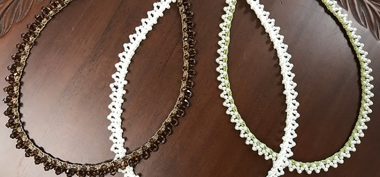 Beaded crochet lace necklace