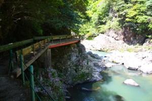 橋とツツジと長門峡