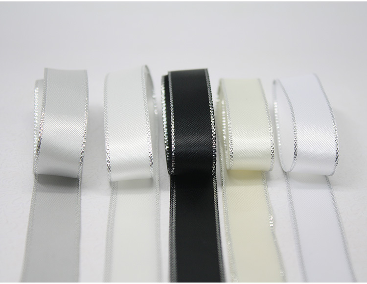 Silver Metallic Edge Satin Ribbon