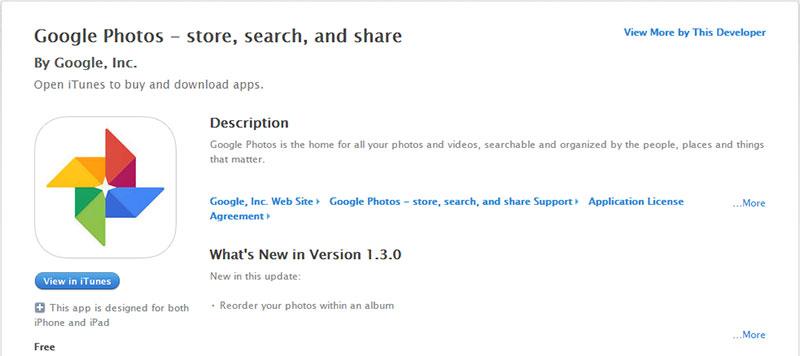 Googleフォトのアプリをインストール