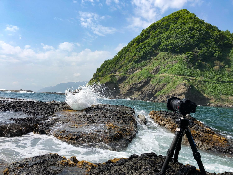 海での撮影