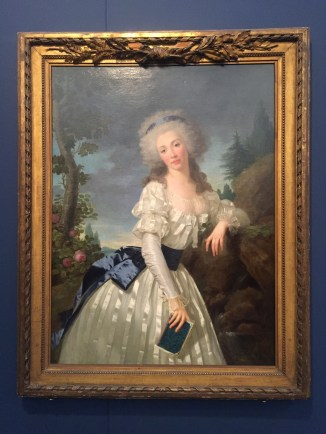 """Antoine Vestier, """"Portrait of a Lady with a book by a fountain"""", 1785"""