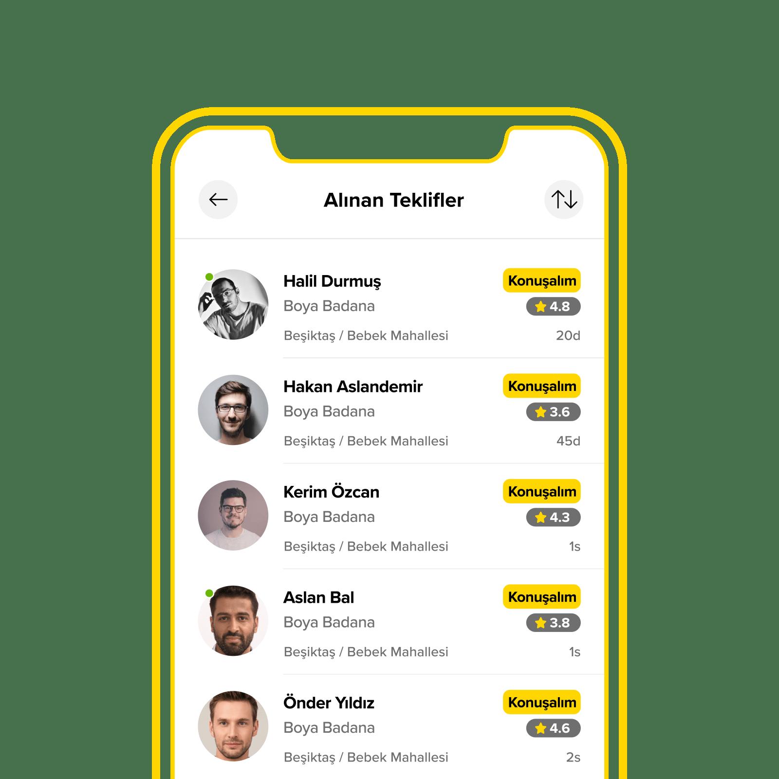 Yandestek Uygulama gelen hizmet teklif ekranı