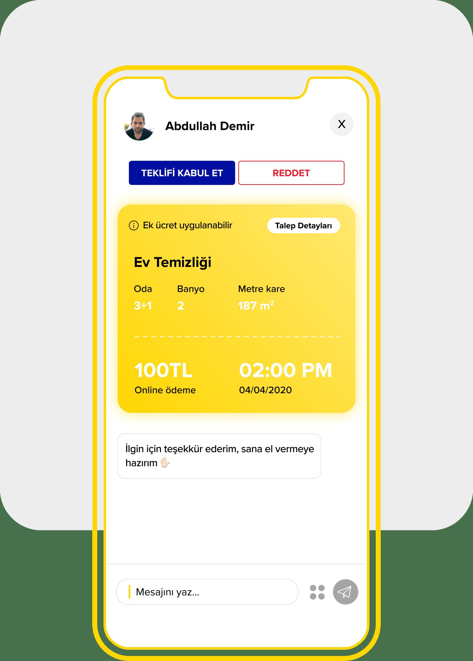 Yandestek gelen teklifi değerlendirme ekranı