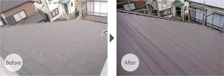 稲毛区の屋根リフォームビフォーアフター