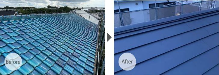 稲毛区の屋根葺き替え工事のビフォーアフター