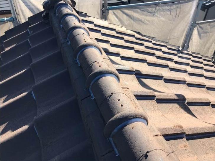 鎌ヶ谷市の屋根修理の瓦どめ工事の施工後の様子