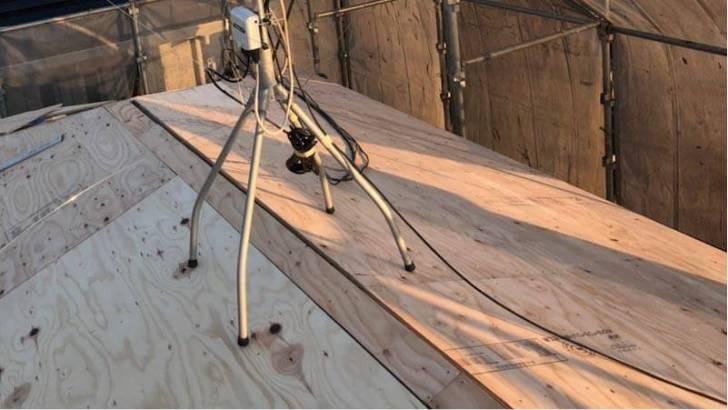 練馬区の屋根葺き替え工事の野地板の施工