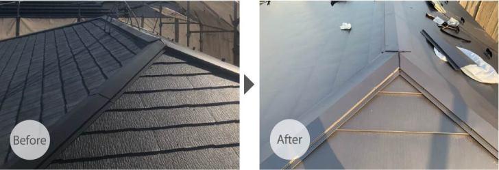 練馬区の屋根葺き替え工事のビフォーアフター