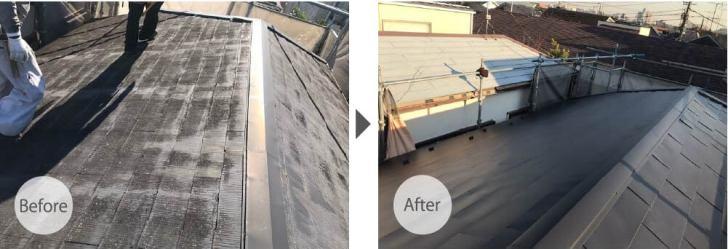 世田谷区の屋根リフォームのビフォーアフター
