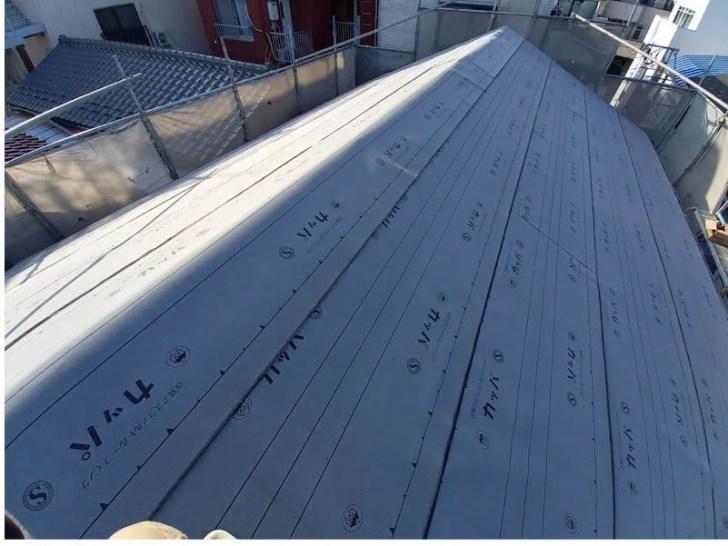 豊島区の屋根葺き替え工事のルーフィング