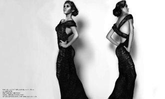 ruffles Draped Fish Tail Rayon Hollywood Knit Dress by YANE MODE