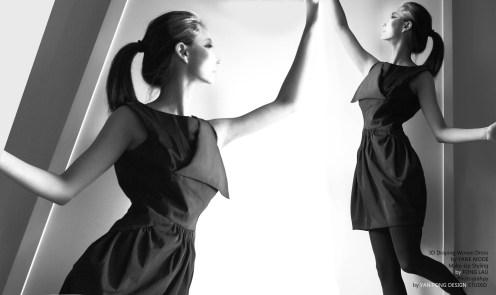 YANE MODE.Classic.3D Draping Woven Dress