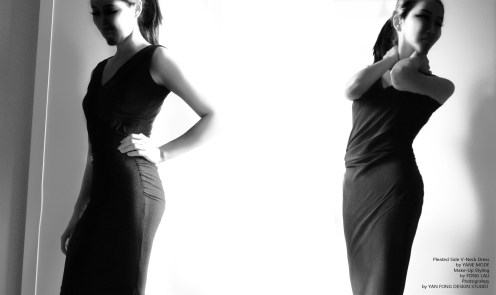 YANE MODE.Classic. Pleated Side V-Neck Dress
