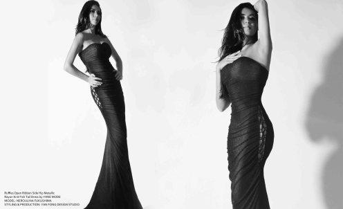 YANE MODE.Glamour. Hollywood Ruffles Open Ribbon Side Hip Metallic Rayon Knit Fish Tail Dress