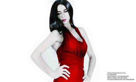 YANE MODE.Glamour.Valentine Pleated Red Knit Dress