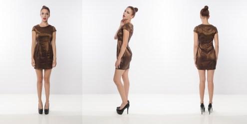 Look 10 - Overlapping Wide Neck Lightweight High Shine Metallic Bronze Woven Shift Dress